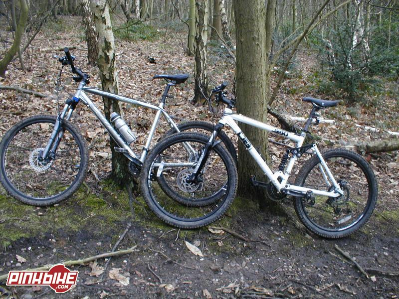 mine and parker's bikes (mine on the left)
