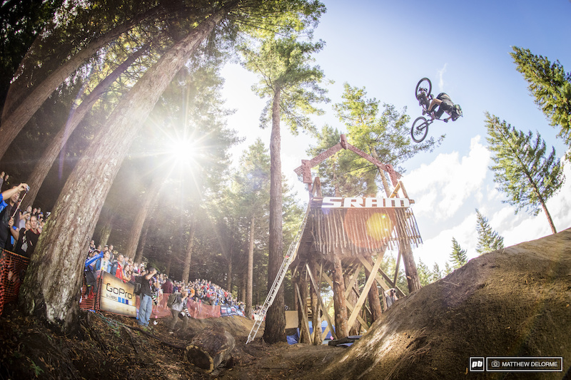 Brett Rheeder took his first win today. After battling a stomach flu, he was the one who found the gold at this first Crankworx.