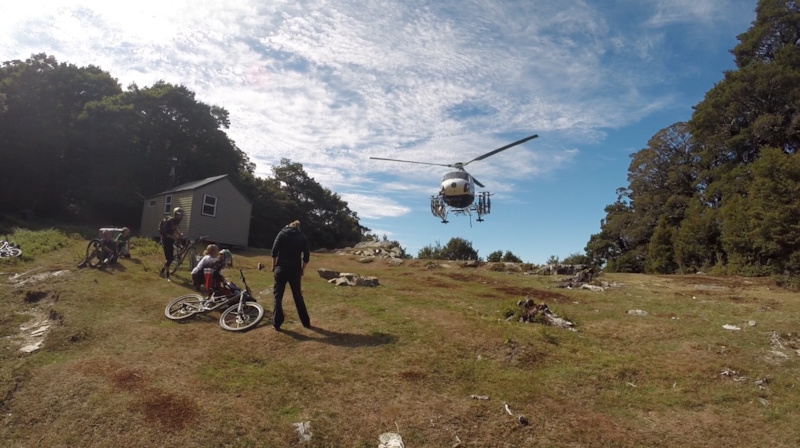 Helicopter Drops Riders to the top on day three of the Santa Cruz NZ Enduro