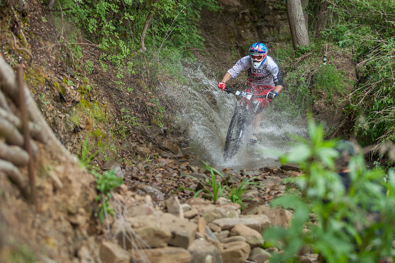 Luca Zenone SUI races down the stage 4 during the first stop of the European Enduro Series in Punta Ala Italy on April 26 2015. Free image for editorial usage only Photo by Antonio Lopez Ordonez