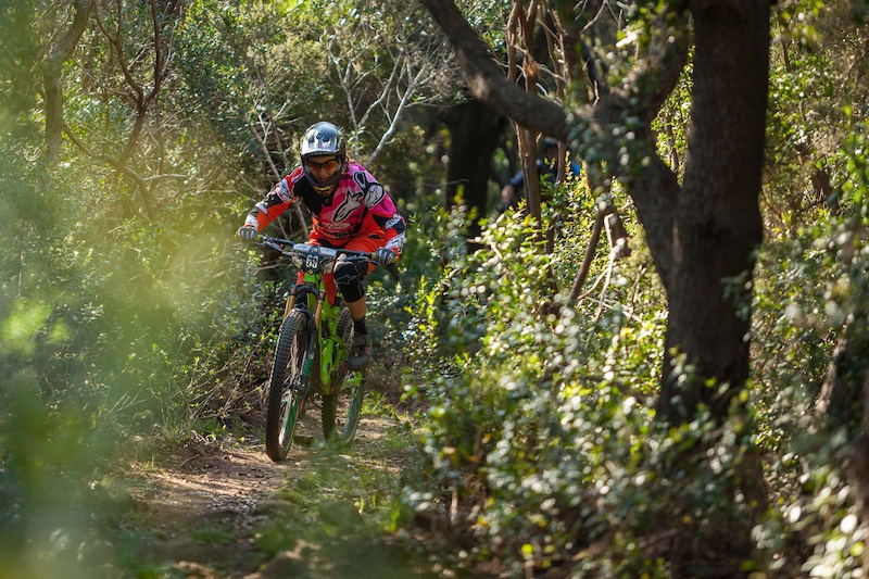 Valentina Macheda races down the prologue during the first stop of the European Enduro Series in Punta Ala Itali on April 25 2015. Free image for editorial usage only Photo by Antonio Lopez Ordonez.