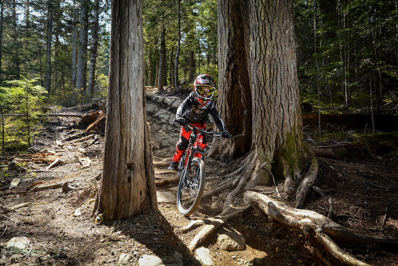 Enjoying the Whistler bike park.
