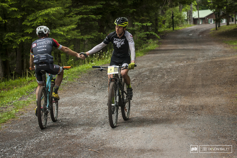 Peter Glassford and Tristan Uhl exchange a handshake after a full on battle on the roads today.