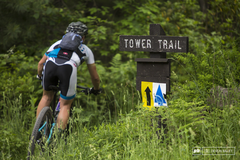 It wasn t all road today. Megan Chinburg drops into Tower Trail and the second enduro segment of the day.