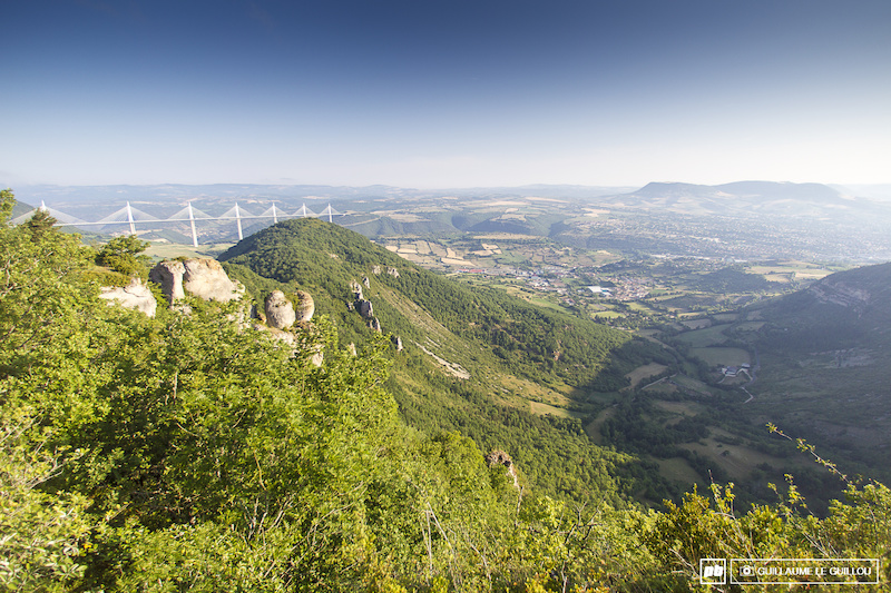 Iconic view on the very famous bridge of Millau at the start of stage 1 .