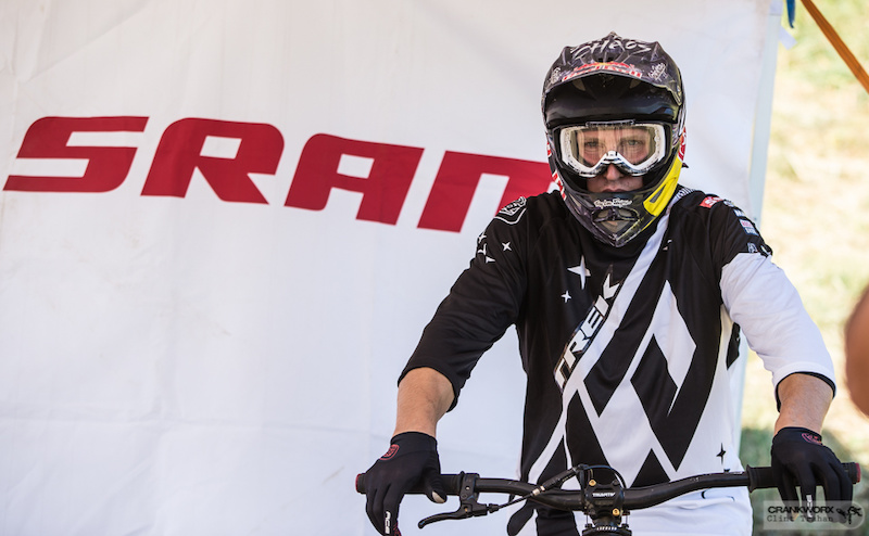 Brandon getting ready to drop in at Crankworx Les Deux Alpes in France Photo by clint trahan crankworx