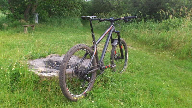 Dartmoor Hornet custom painted with a Rockshox Pike RCT3 with maxle stealth and a Reverb Stealth Hope Tech E4 brakes and the FR stem and seat clamp Sram 2015 X01 11speed with the new direct mount chain ring Sram 2015 X0 hubs Stans ZTR FLOW EX 2015 on rear Enve DH carbon handlebar ESI grips Shimano XTR 9020 trail pedals Selle Italia SLR Titanium seat Maxxis Tires MRP AMG chainguide Garmin Edge 510 gps......