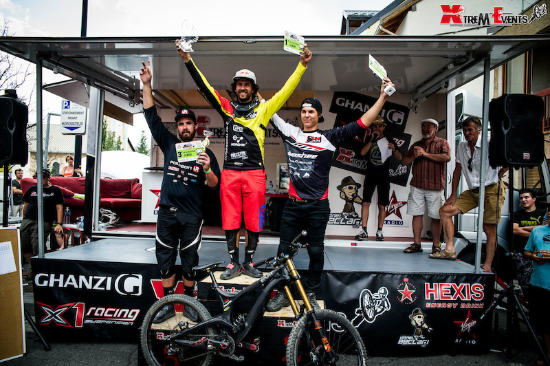Filip Polc Jonty Neethling and Camille Blanchard for the first podium Urban DH in Brian on