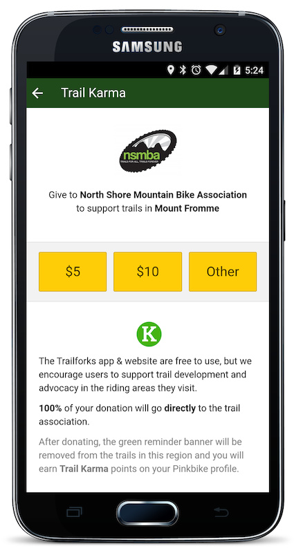 Trail Karma page in app
