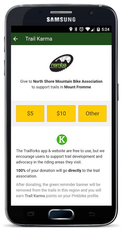 Trail Karma page in app