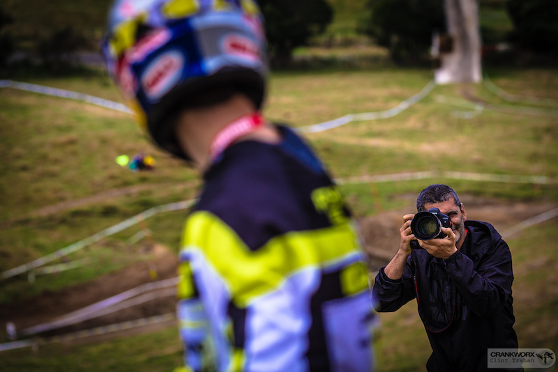 Gee Atherton is framed up by the media Photo by clint trahan Crankworx