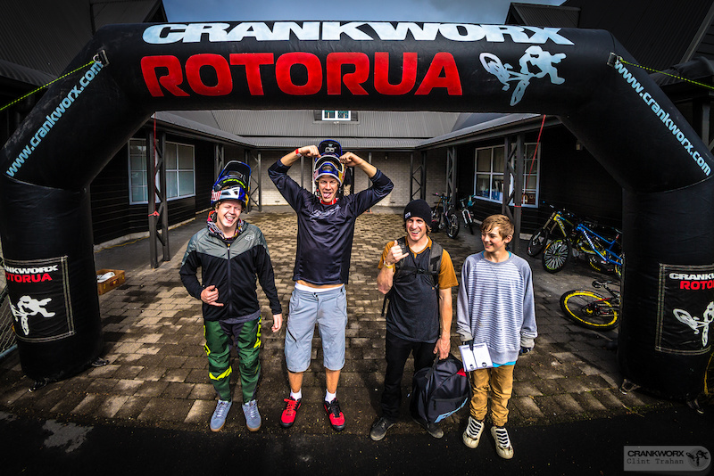 Martin Soderstrom Anton Thelander and Tyler McCaul pose with a young fan looking for autographs. Photo by clint trahan Crankworx