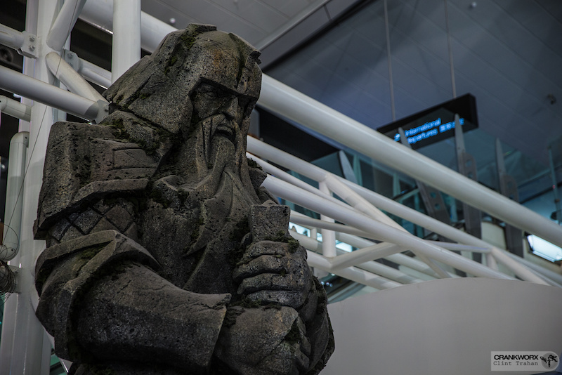 Lord of the RIngs statues greet travellers at the Auckland NZ Airport. Photo by clint trahan Crankworx