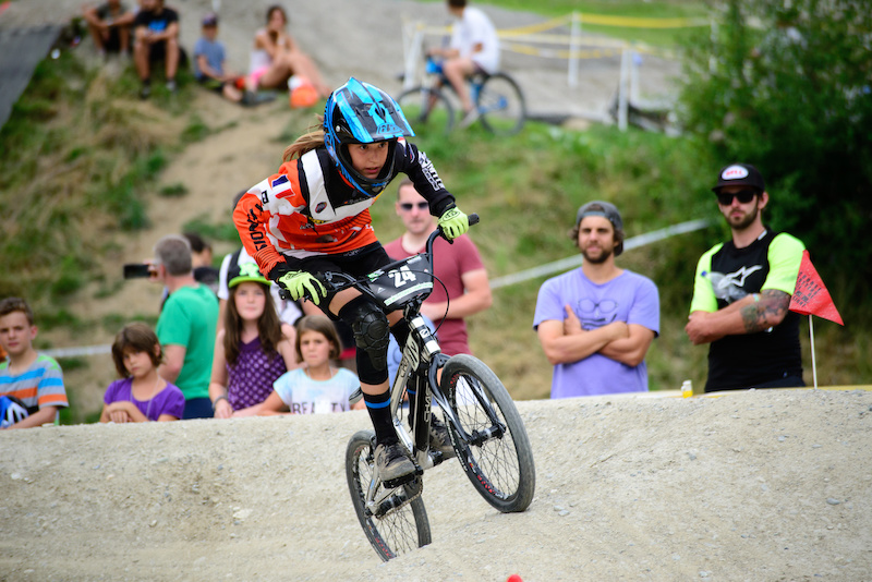 Siel VAN DER WELDEN BEL gives it all the Rookies Pumptrack Challenge during the Kona International Rookies Games in Tyrol Austria on August 7 2015. Free image for editorial usage only Photo by Felix Oesterle