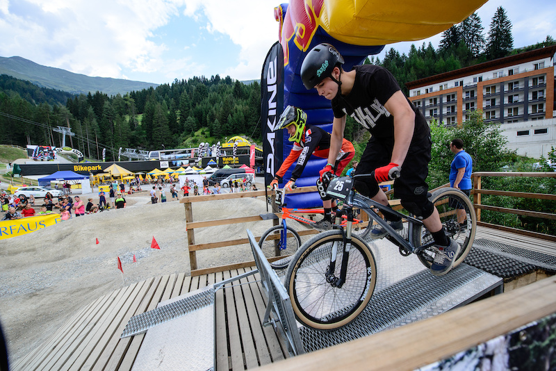 One of the really close categories was decided between Fabian BURGARD GER and Wout VAN DER WELDEN BEL with Fabian taking the win the Rookies Pumptrack Challenge during the Kona International Rookies Games in Tyrol Austria on August 7 2015. Free image for editorial usage only Photo by Felix Oesterle