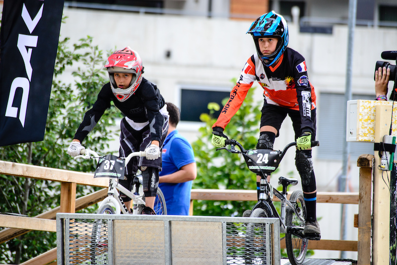 Siel VAN DER WELDEN BEL and Alina BECK GER are ready for their final heat with Siel taking the win during the Rookies Pumptrack Challenge during the Kona International Rookies Games in Tyrol Austria on August 7 2015. Free image for editorial usage only Photo by Felix Oesterle