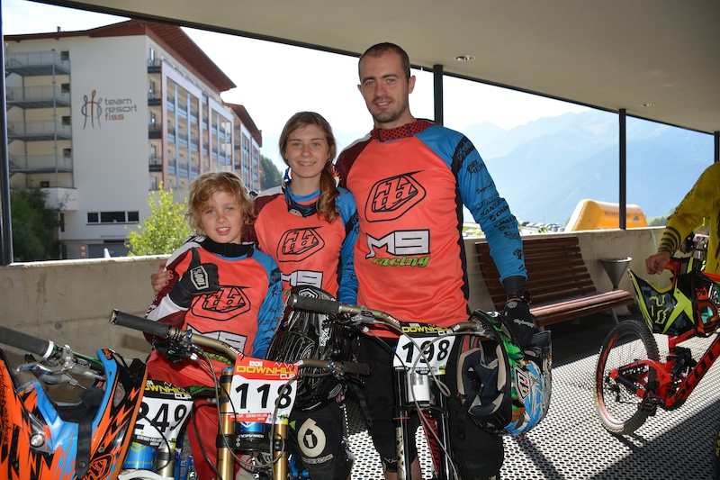 Atis Scerbinis Paula Zibasa and Marcis Scerbinins LAT competed in the Family Challenge at the MTB-Festival Serfaus-Fiss-Ladis.