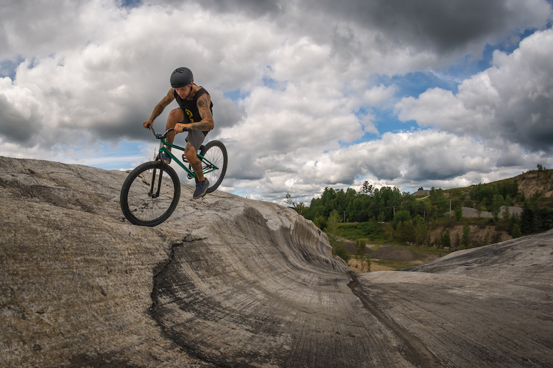 Jeremy doing a foot jam at a one of a kind spot in Quebec.