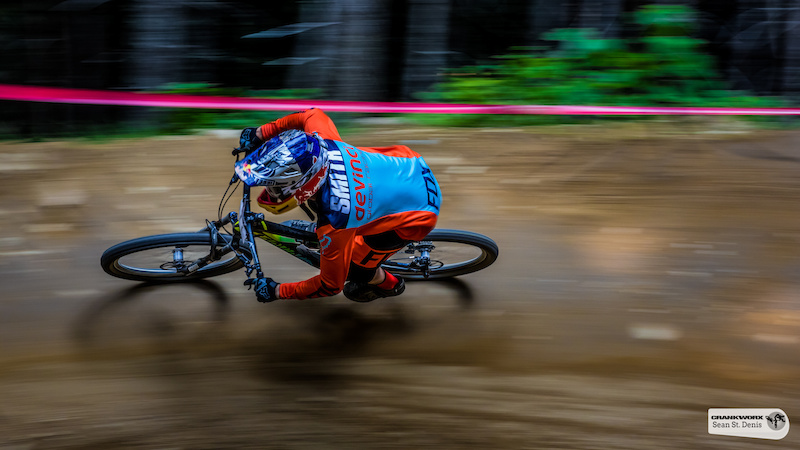 Steve Smith railing corners in the Fox A Line DH at Crankworx in Whistler British Columbia Canada. Photo Sean St.Denis