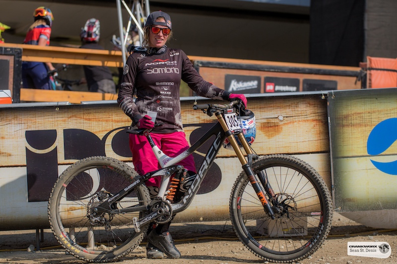 Jill Kintner in the Fox A Line DH at Crankworx in Whistler British Columbia Canada. Photo Sean St.Denis