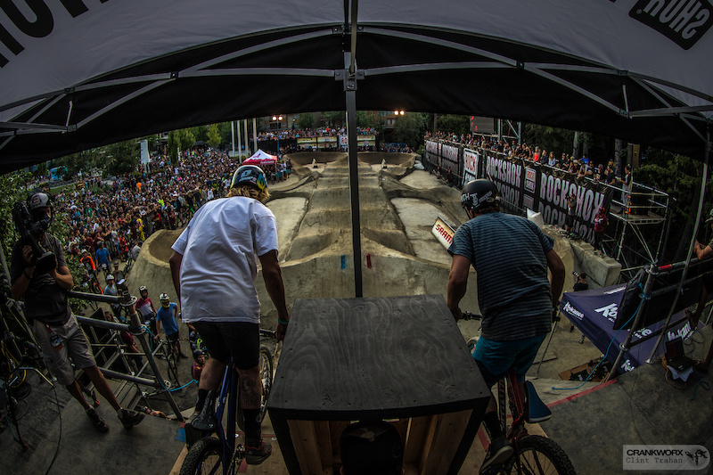 Tomas LEMOINE left vs Kyle QUESNEL right during the Ultimate Pump Track Challenge presented by RockShox at Crankworx Whistler in British Columbia. Photo by clint trahan crankworx