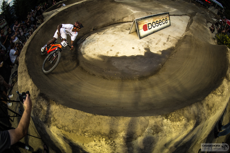 Cody Johnson during the Ultimate Pump Track Challenge presented by RockShox at Crankworx Whistler in British Columbia. Photo by clint trahan crankworx