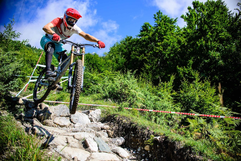 Benni Purner of AUT races down the 4.2km track on the Nordkette Singletrail Nordkette Downhill.Pro at Innsbruck Invitational in Innsbruck Austria on August 29th 2014. Free image for editorial usage only Photo by Felix Schueller