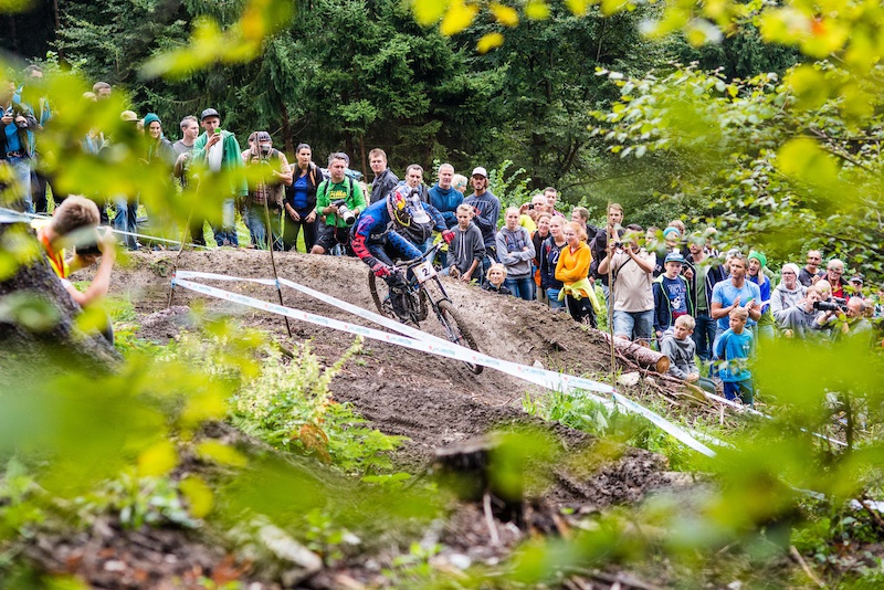 Marcelo GUTIERREZ VILLEGAS of Colombia races during the Nordkette Downhill.PRO on the 3.5km track of the Nordkette Singltrail in Innsbruck Austria on August 30 2014. Free image for editorial usage only Photo by Felix Sch ller.