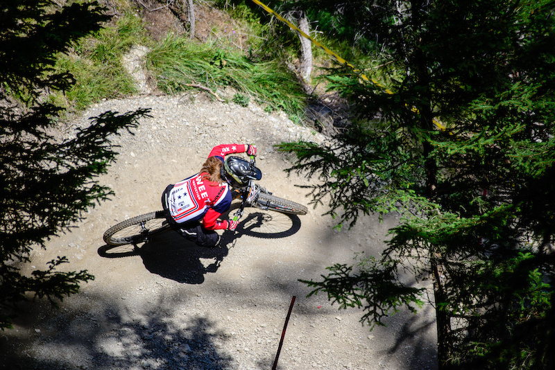 Anna NEWKIRK USA fastest girl on Saturday and 2nd on Sunday pulls through the berms in the last part of the track.