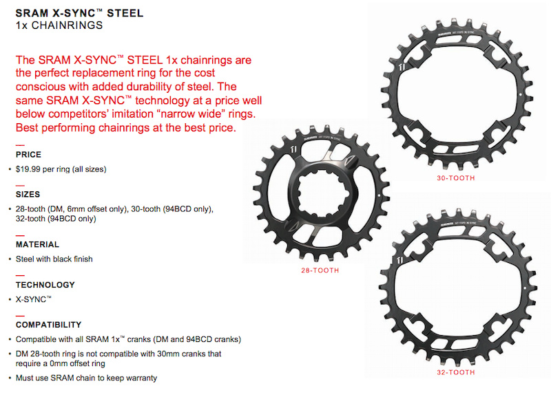 SRAM Steel ring info