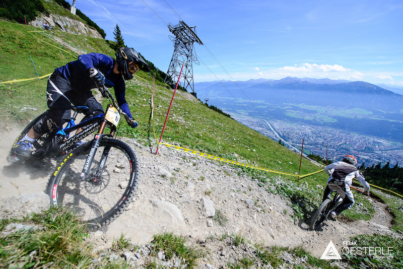 BICHLER Hannes AUT races down the downhill track on the Nordkette Singletrail during the Nordkette Downhill.PRO in Innsbruck Austria on August 29 2015. Free image for editorial usage only Photo by Felix Oesterle.