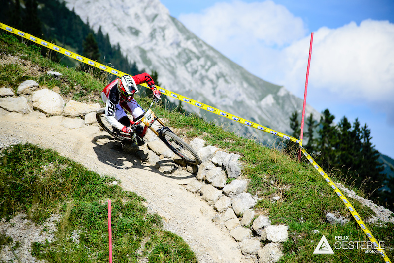 ENGEL Pascal AUT races down the downhill track on the Nordkette Singletrail during the Nordkette Downhill.PRO in Innsbruck Austria on August 29 2015. Free image for editorial usage only Photo by Felix Oesterle.