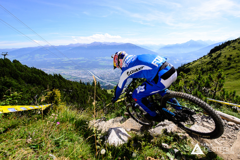 GUTIERREZ Marcelo COL races down the downhill track on the Nordkette Singletrail during the Nordkette Downhill.PRO in Innsbruck Austria on August 29 2015. Free image for editorial usage only Photo by Felix Oesterle.