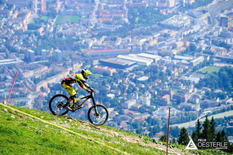 NEETHLING Andrew races down the downhill track on the Nordkette Singletrail during the Nordkette Downhill.PRO in Innsbruck Austria on August 29 2015. Free image for editorial usage only Photo by Felix Oesterle.