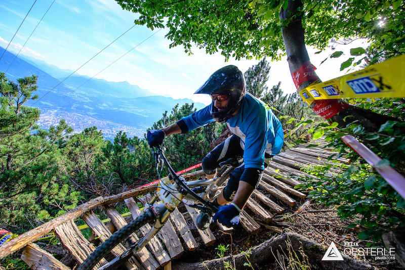 SENFTER Gerhard AUT races down the downhill track on the Nordkette Singletrail during the Nordkette Downhill.PRO in Innsbruck Austria on August 29 2015. Free image for editorial usage only Photo by Felix Oesterle.