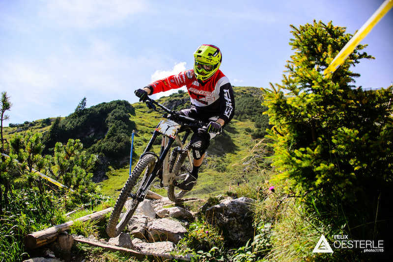 TRUMMER David AUT races down the downhill track on the Nordkette Singletrail during the Nordkette Downhill.PRO in Innsbruck Austria on August 29 2015. Free image for editorial usage only Photo by Felix Oesterle.