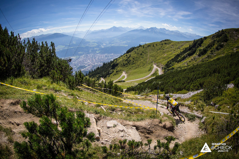 Robert Wuchere of Austria during training for the Nordkette Singletrail during the Nordkette Downhill.PRO in Innsbruck Austria on August 29 2015. Free image for editorial usage only Photo by Sebastian Schieck.