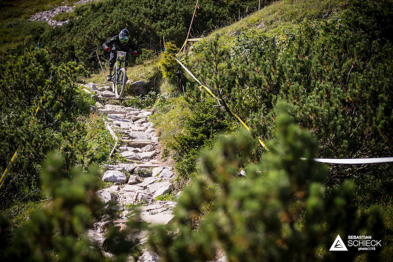 Willi Hofer of Austria during training for the Nordkette Singletrail during the Nordkette Downhill.PRO in Innsbruck Austria on August 29 2015. Free image for editorial usage only Photo by Sebastian Schieck.