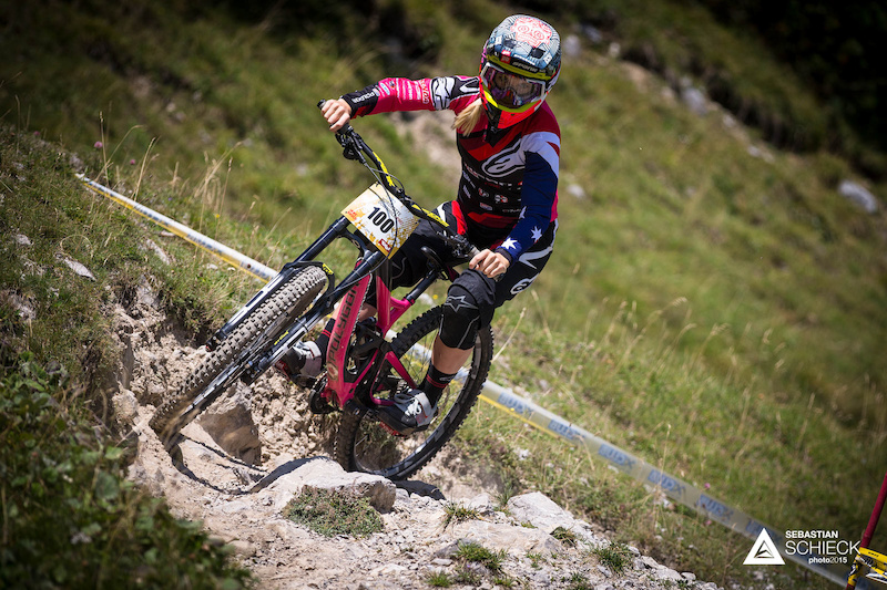 Tracy Hannah of Australia during training for the Nordkette Singletrail during the Nordkette Downhill.PRO in Innsbruck Austria on August 29 2015. Free image for editorial usage only Photo by Sebastian Schieck.