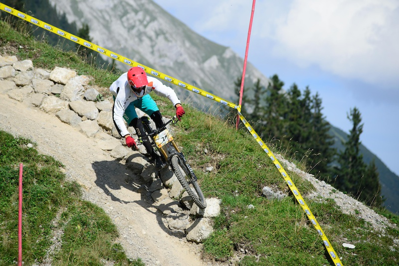 PURNER Benni AUT races down the downhill track on the Nordkette Singletrail during the Nordkette Downhill.PRO in Innsbruck Austria on August 29 2015. Free image for editorial usage only Photo by Felix Oesterle.