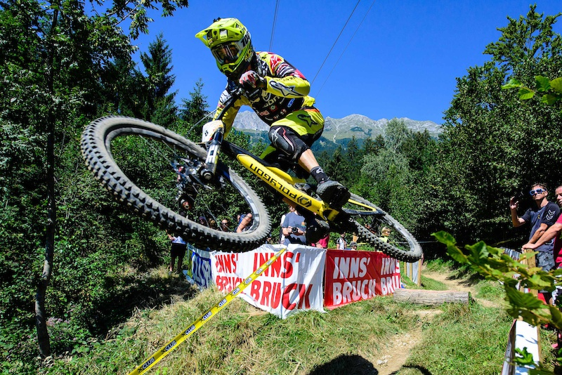 NEETHLING Andrew RSA races down the downhill track on the Nordkette Singletrail during the Nordkette Downhill.PRO in Innsbruck Austria on August 29 2015. Free image for editorial usage only Photo by Felix Oesterle.