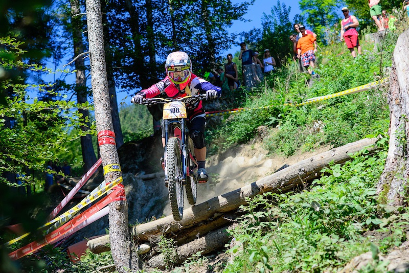 Tracy HANNAH AUS races down the downhill track on the Nordkette Singletrail during the Nordkette Downhill.PRO in Innsbruck Austria on August 29 2015. Free image for editorial usage only Photo by Felix Oesterle.