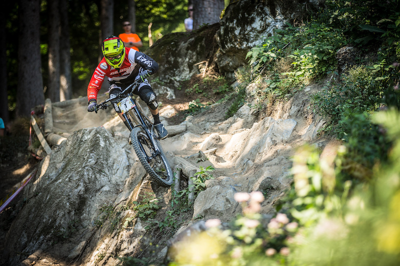 David Tummer of Austria races down the downhill track on the Nordkette Singletrail during the Nordkette Downhill.PRO in Innsbruck Austria on August 29 2015. Free image for editorial usage only Photo by Sebastian Schieck.