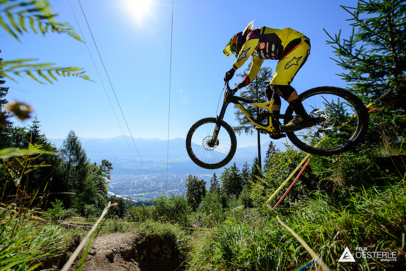 The lower part of the trail sees a lot more jumps and berms here s Remy MORTON AUS enjoying a bit of air time.