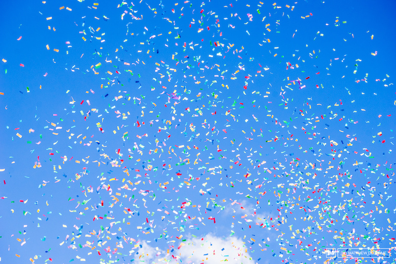 The confetti was flying like  snow storm.