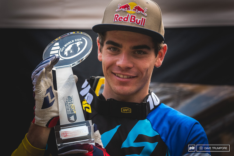 Despite all the tough luck Loic was still all smiles when he received the trophy for 2nd overall in the Word Cup.