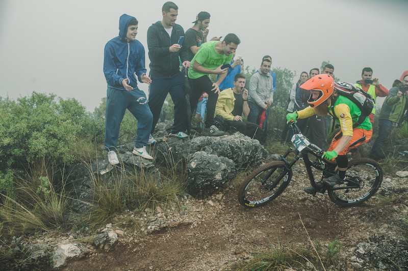Aslak Moerstad from Norway races down the stage No. 2 during the 5th stop of the European Enduro Series in Malaga Benalmadena Spain on October 18 2015. Free image for editorial usage only Photo by Antonio Lopez
