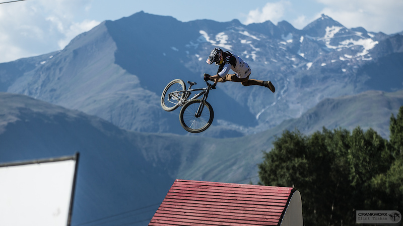 Brandon Semenuk of Canada on the Slopestyle course at Crankworx Les Deux Alpes in France Photo by clint trahan crankworx