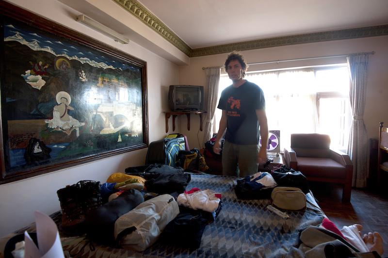 Last minute packing in Kathmandu