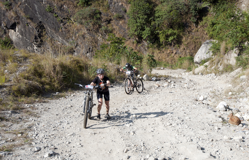 Even Yak Attack veterans found the going tough on Stage 4 s steep climbs. Tan and Tyler opting to walk this steep pitch.